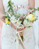 protea wedding bouquet with sequin ribbon