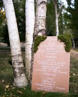 wooden wedding menu