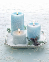 Blue Snowy Candles