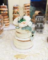 naked wedding cake custom floral cake topper