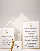 yellow, gray, and white wedding invitation