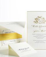 navy and gold wedding invitation