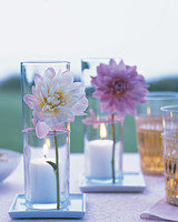 votive centerpieces with flowers