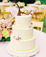 Wedding Cake with Flowers and Birds