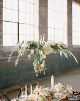 wedding chandelier white floral with candle light