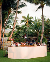 cocktail and appetizer outdoor bar set up
