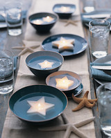 Star-Shaped Tea Lights in Blue Dishes