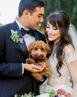 molly josh wedding couple holding dog