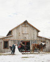 Bride and Groom on Sleigh with Horses