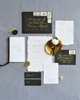 fall invites black envelopes and torn-edge paper