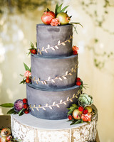 grey cake gold vine detail