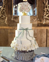 Wedding Cake with Floral Urn Topper