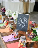 mason jars kids table with candy and crafts