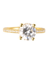 Pave-Set Yellow Gold Engagement Ring