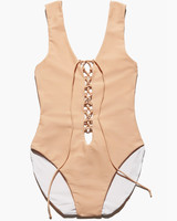 Nude Lace-Up Swimsuit