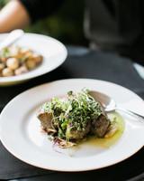 paige matt wedding food on plate