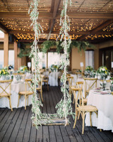 rustic-style wooden swing outdoorsy reception