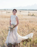 lace and organxa Ines Di Santo wedding dress