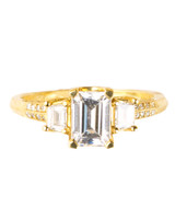 Trapezoid Yellow Gold Engagement Ring