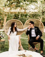 til death do us part neon sign with couple in chairs