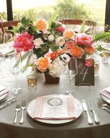 Orange and Pink Wedding Centerpiece