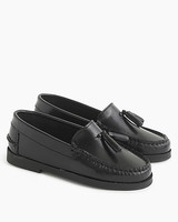 ring bearer shoes black leather tassel-topped loafers