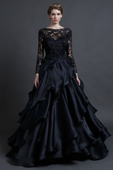 Sareh Nouri black wedding dress