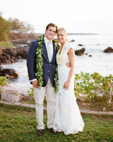 bride and groom Hawaiian wedding