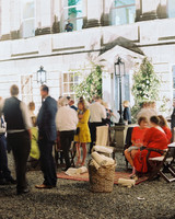 guests gathered at outdoor reception venue