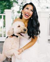 bold lipstick bride with puppy