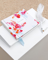 Pink and Blue Floral Guest Book