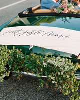 just married french sign on getaway car