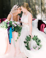 hoop bouquets alea lovely same sex brides