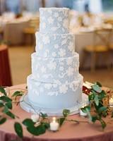 kelsey jacob wedding cake light blue with white lace pattern
