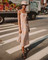 lein fall 2019 checker patterned tea length sheath dress with square neckline and belt