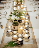 mason jar decor down center of table