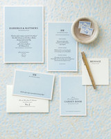 light blue wedding invitation