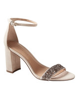 nude shoe bare high block glitter heels