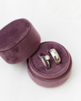 ryan thomas wedding rings in purple round box