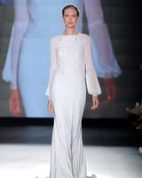 rosa clara dress spring 2019 illusion bishop-sleeved sheath