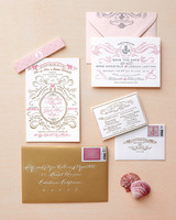 gold and pink stationery suite