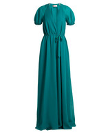Lanvin V-neck puff-sleeved silk crepe de chine gown