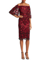 theia tulle off the shoulder red lace dress