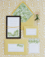 Yellow and Palm Leaf Invite