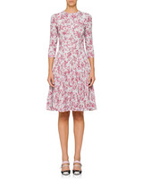 Prada Fit-And-Flare Floral Dress
