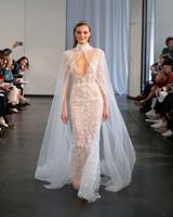 berta fall 2019 sheath sheer cape wedding dress