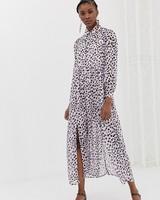 spring bridal shower dress dalmation print long-sleeve maxi