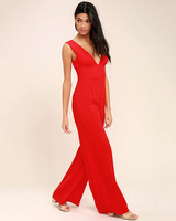 red v-neck jumpsuit