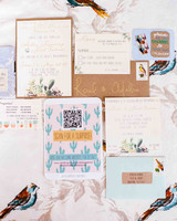 Colorful Wedding Invitation Suite with Cactus Motif