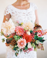 bride dahlia bouquet pastel peach coral flowers